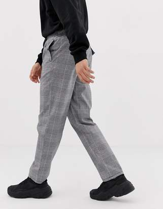 Asos Design DESIGN relaxed pants in gray check with utility belt
