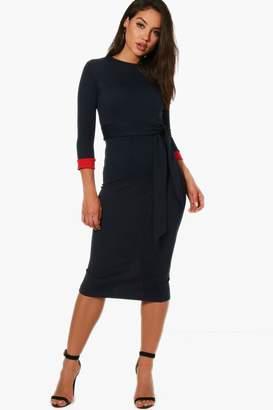 boohoo Formal Contrast Cuff Tie Belt Midi Dress