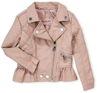 Urban Republic Girls 4-6x) Pink Faux Leather Peplum Jacket