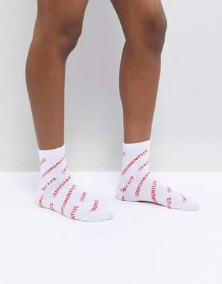 Asos DESIGN All Over Slogan Ankle Socks