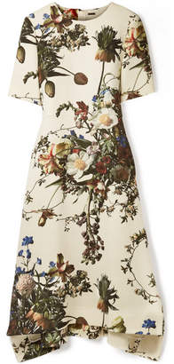 ADAM by Adam Lippes Floral-print Wool Midi Dress - Ecru