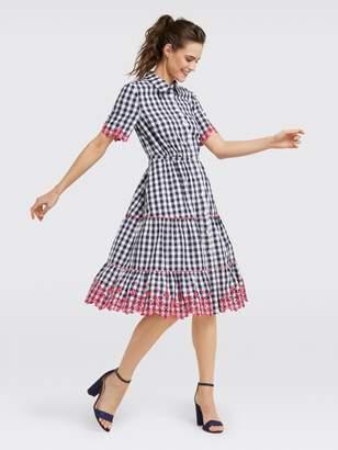 Draper James Collection Dolly Check Eyelet Shirt Dress