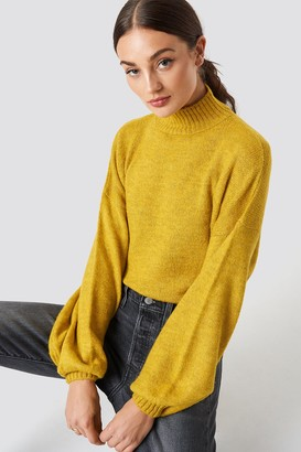 NA-KD Na Kd High Neck Balloon Sleeve Knitted Sweater