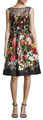 Teri Jon Embroidered Floral-Print Dress $500 thestylecure.com