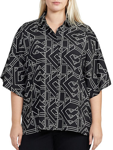 Lauren Ralph Lauren Lauren Ralph Lauren Plus Geometric-Printed Point-Collar Top