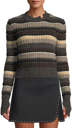 Helmut Lang Distressed Ombre-Stripe Shrunken Wool Sweater