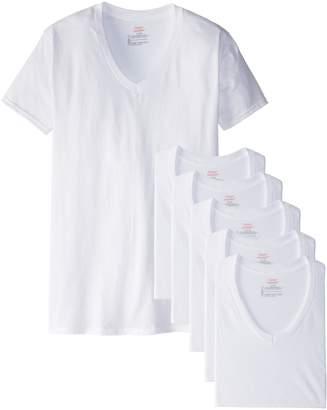 Hanes Men's Cotton Nano V-Neck T-Shirt,White (6-Pack),3XL