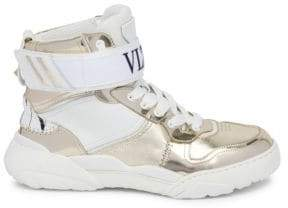 Valentino Men's Slam B77 High-Top Sneakers - Platino Bianco - Size 41 (8)