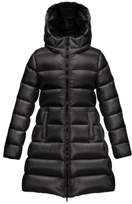 Moncler Suyen Hooded Long Puffer Coat, Black, Sizes 8-14 $620 thestylecure.com