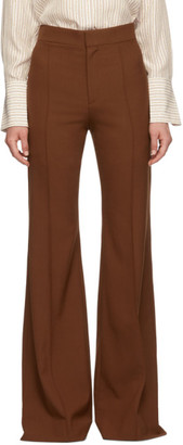 Chloé Brown Stretch Wool Flared Trousers