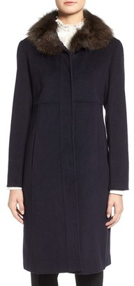Women's Ellen Tracy Wool Blend Coat With Genuine Fox Fur $498 thestylecure.com