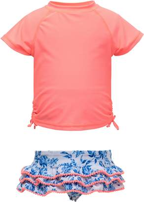 Snapper Rock Cottage Floral Short Sleeve Ruffle Swimsuit