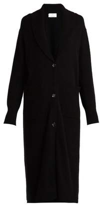 Allude Long Wool And Cashmere Blend Cardigan - Womens - Black