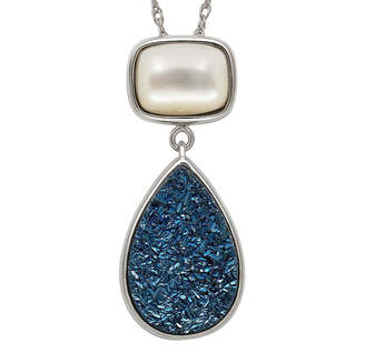 Mother of Pearl FINE JEWELRY Mother-of-Pearl & Genuine Drusy Sterling Silver Pendant Necklace