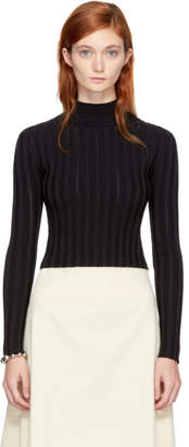 McQ Black Cropped Lace Rib Turtleneck