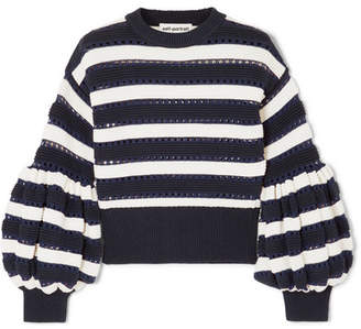 Self-Portrait Striped Open-knit Cotton And Wool-blend Sweater - Navy