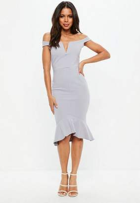 Missguided Tall Gray V Bar Bardot Frill Hem Midi Dress