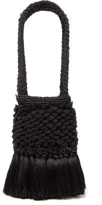 Johanna Ortiz Honey Lavender Tasseled Embellished Crochet And Woven Straw Tote - Black