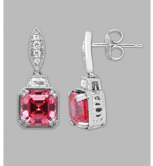 Swarovski Fine Jewelry Balentino® Sterling Silver Pink Drop Earrings Made With Cubic Zirconia Elements