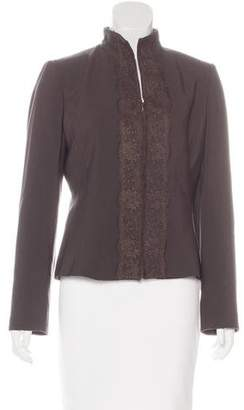 Valentino Lace-Trimmed Virgin Wool Jacket