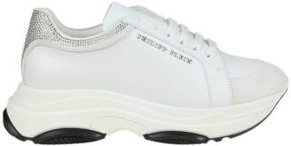 Philipp Plein Sneakers In White Leather With Applied Rhinestones