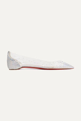 Christian Louboutin Degrastrass Embellished Pvc And Leather Point-toe Flats - Silver