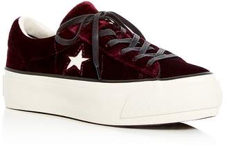 Converse One Star Velvet Lace Up Platform Sneakers