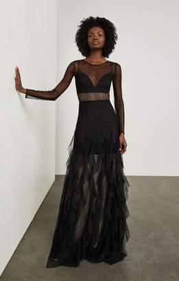 BCBGMAXAZRIA Long-Sleeve Cascading Ruffle Gown