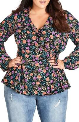 City Chic Folky Floral Wrap Top