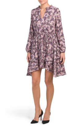 Juniors Ditsy Floral Ruffle Dress
