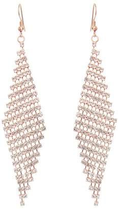 Quiz Rose Gold Diamante Diamond Drop Earrings
