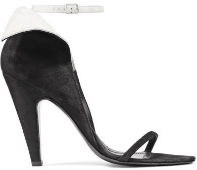 CALVIN KLEIN 205W39NYC - Camrin Ruffle-trimmed Suede Sandals - Black