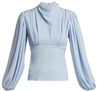 Emilia Wickstead Ronan Gathered Crepe Blouse - Womens - Light Blue