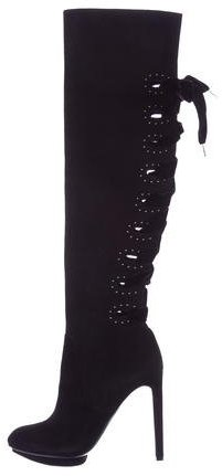 Alexander McQueenAlexander McQueen Suede Thigh-High Boots