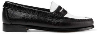 RE/DONE Weejuns The Whitney Patent And Lizard-effect Leather Loafers - Black