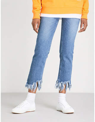 Sjyp Frayed-hem straight cropped high-rise jeans
