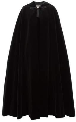 Saint Laurent William Vintage Rive Gauche Hooded Cotton Blend Velvet Cape - Womens - Black