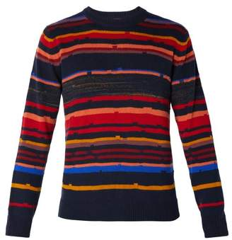 Missoni Striped Cashmere And Wool Blend Sweater - Mens - Navy Multi