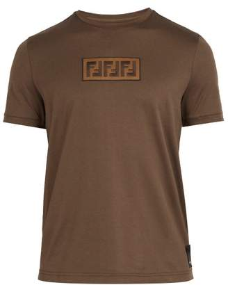 Fendi Logo Jacquard Cotton T Shirt - Mens - Brown