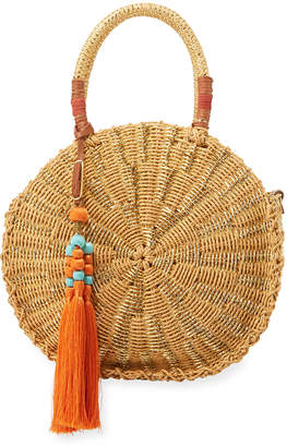 Sam Edelman Guiliana Straw Paper Round Tote Bag
