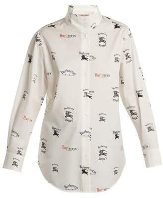 Burberry Triple Archive Logo Print Stretch Cotton Shirt - Womens - White Multi