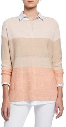 Lafayette 148 New York Plus Size Chain Embellished Colorblock Boat-Neck Sweater
