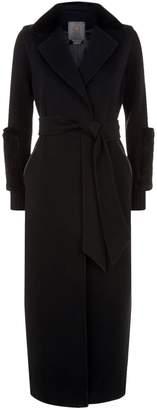 Lilly E Violetta Gianna Mink Collared Longline Coat