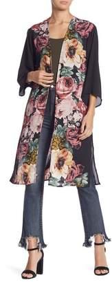 June & Hudson Floral 3/4 Sleeve Kimono