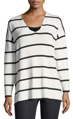 Lafayette 148 New York Striped V-Neck Matte Crepe Sweater