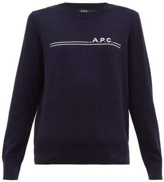 A.P.C. Logo Jacquard Cotton Blend Sweater - Womens - Navy