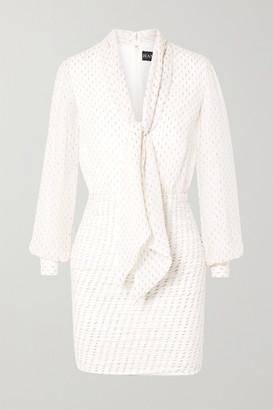 HANEY Pippa Tie-neck Metallic Fil Coupé Silk-blend Chiffon Mini Dress - Ivory