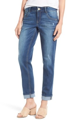 Petite Women's Wit & Wisdom Ripped Slim Straight Leg Ankle Jeans $78 thestylecure.com
