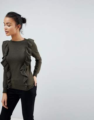 Fashion Union Jumper With Frill Shoulders