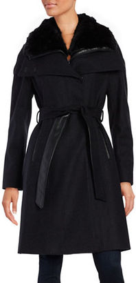French Connection Faux Fur Collar Belted Coat $320 thestylecure.com